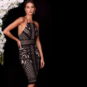 Black & Nude Lace Midi Dress